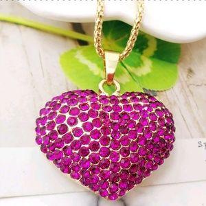 Betsey Johnson Crystal Rose Heart Pendant Necklace